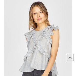 Greylin pinstripe ruffled top 🤩
